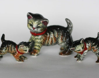 vintage enesco cat with kittens made in japan