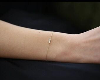 Diamond Bracelet with Thin Chain/Trio Diamond Bracelet in 14k Solid Gold in bezel setting/ Diamond Bezel Bracelet/ Dainty Diamond Bracelet