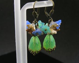 Flower Earrings, Wire Wrapped Earrings, Czech Glass Beaded Earrings, Boho Earrings, Bohemian Jewelry, Earrings Handmade, E1667