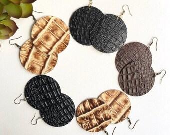 Leather Earrings, Boho Chic, Trendy, Lightweight, Leather Circle, Circle Earrings, Embossed, Embossed leather, Croc