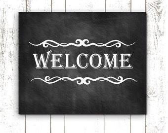 Printable Welcome Sign - Chalkboard Sign - Housewarming Gift - Welcome Home
