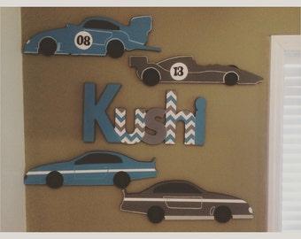 Custom Boys Car Wall Decor Set - Boys Car Decor - Custom Boys Name Sign and Car Decor Set