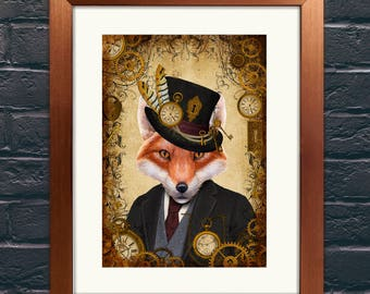 Steampunk Fox A4 Giclee Art Print Wall Art Poster, Home Decor,