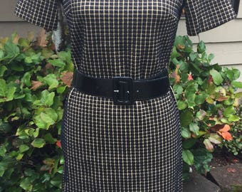 Vintage Joan Curtis Black And Gold Sheath Dress