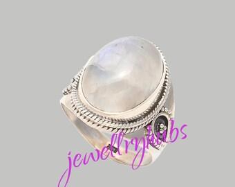 Rainbow Moonstone Ring, Rainbow Moonstone, Moonstone Silver Ring, 925 Sterling Silver, Silver Ring Jewelry, Handmade Ring, R24MN
