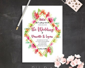 Tropical Wedding Invitation Printable Pink Floral Wedding Invitation Suite Summer Wedding Invites Destination Wedding Invitations DIY Bride