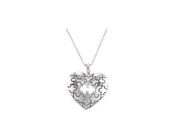 A Piece of My Heart Necklace puzzle Sterling Silver