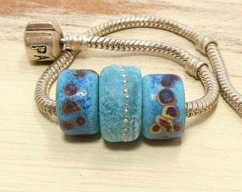 Quinlan Glass European Charm Indigo Desert BHB Handmade Lampwork Glass Beads