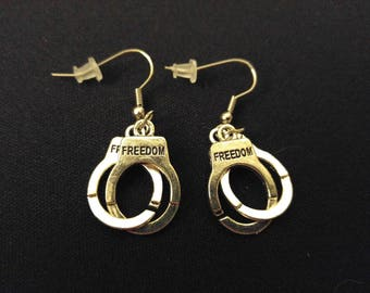 FREEDOM CUFFS Charm Earrings Stainless Steel Ear Wire Silver Metal Unique Gift