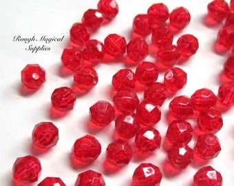 Bright Red Beads, 8mm Cherry Berry Red Faceted Acrylic, DIY Christmas Jewelry & Holiday Craft Beads, Plastic Faux Crystals 59 Pieces SP782