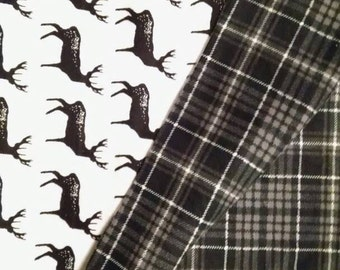 Plaid and Stag Flannel Baby Blanket