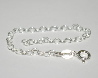 Sterling Silver 925 6 inch CHAIN EXTENDER with Spring Ring Clasp - Real Silver - Free Shipping Worldwide