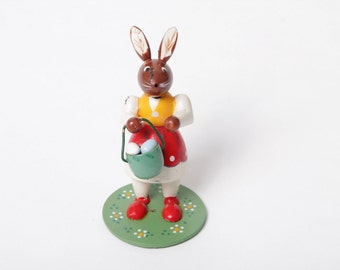 Easter rabbit with basket, GDR, ore mountains, vintage