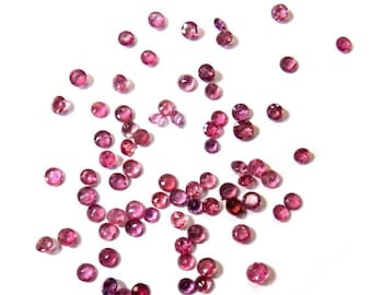 40% Sale -- Dark Pink Sapphires, Size 2 - 3 mm Approx , Cut Stones, Round Shape, 5 pcs.