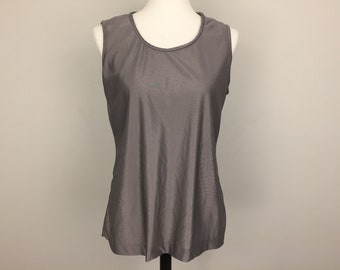 80s Sleeveless Knit Top Tank Top Womens Tops Vintage Knits Large Size XL Dark Gray Silver Top Nylon Vintage Clothing 1980s Womens Clothing