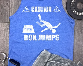 caution box jumps funny mens gym tank, box jumps, muscle tank, workout tank, running tank, workout clothes, workout tanks for men