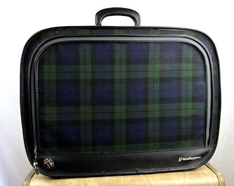 Vintage Plaid 1960s Luggage Suitcase Travel Case - Grasshopper
