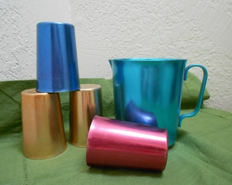 Aluminum Drinkware RARE Sized Atomic Era Small Juice Or Child Sized Sized Rainbow Hued Anodized  Perfect For Lemonade Stand Or Breakfast