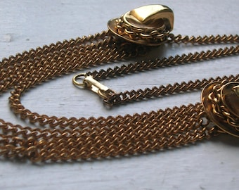 Vintage 1940s Deco Necklace // Gold Multi Chain Bib