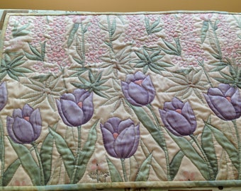 Quilted Purple Tulip Table Runner Centerpiece