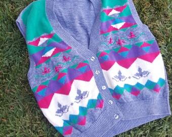 Womens Vintage Vest, Sweater Vest, 1980s, Koret City Blues, Novelty Print, Motif, Fall Fashion, Stranger Things, Size Large