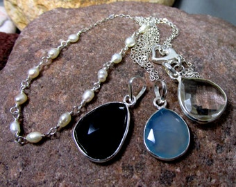 4 Necklaces in One ~  Interchangeable, Sterling Silver Necklace with 3 Pendants, All Sold Together