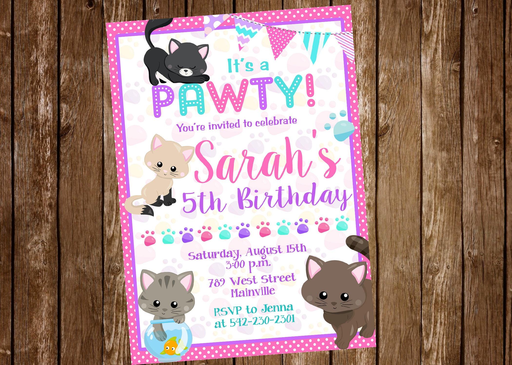Invitación invitación de gatito Pawty gatito cumpleaños