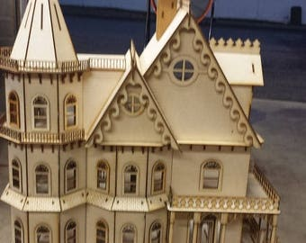 1:24 Scale Wooden Gothic Victorian Dollhouse Mansion Model Kit Leon Series