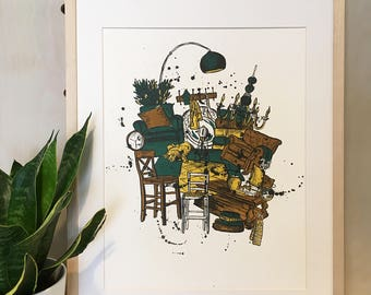 Is This Home Print - Handmade Lithograph