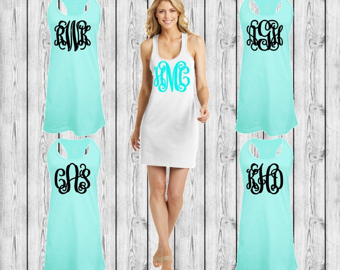 Monogrammed Swimsuit Coverup, Monogram Swim Cover Ups, Monogrammed Tank dress, Bridesmaid Gift, Cruise, Wedding, Bachelorette