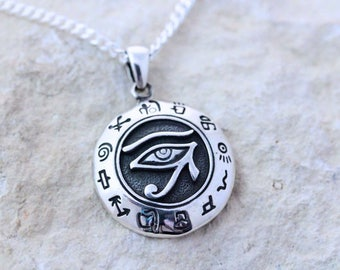 Sterling silver Eye of Horus Necklace, Eye of Horus necklace, Eye of Ra necklace, Protection necklace