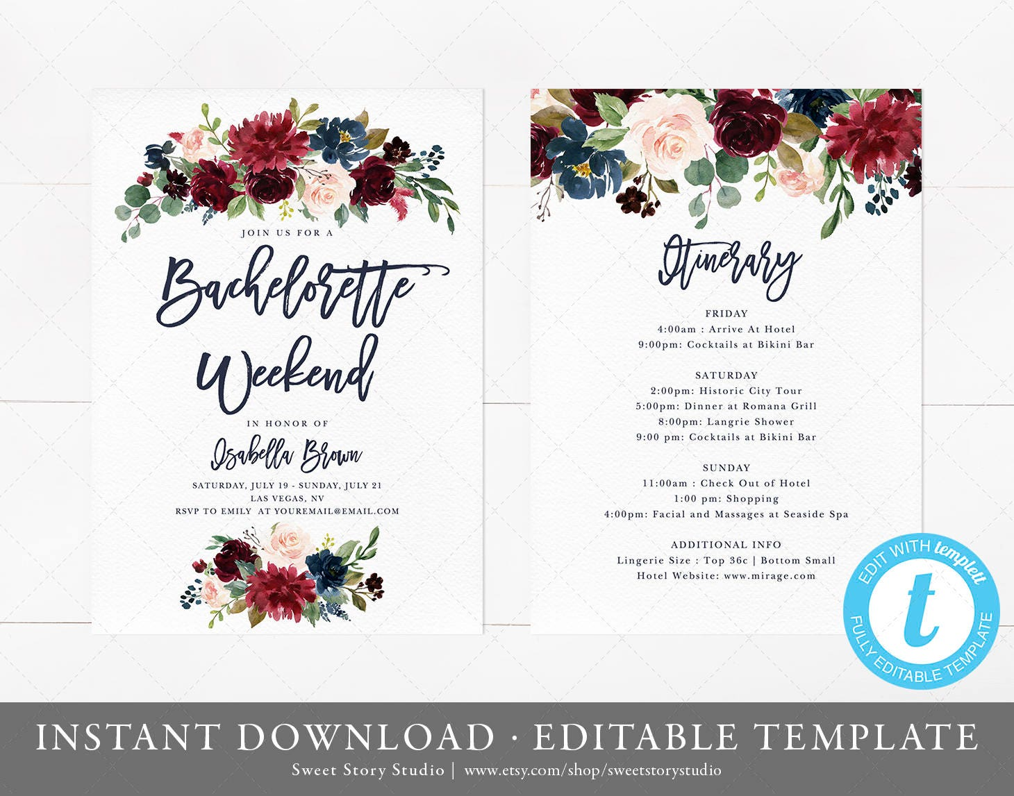 Burgundy Bachelorette Weekend Invitation and Itinerary Card