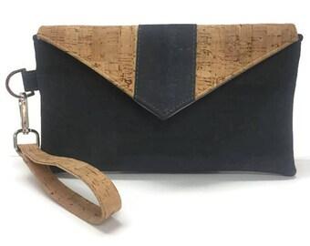 Gray Cork Wristlet, Cork Wallet, Cork Wristlet, iPhone Wallet, Cork Handbag, Gift for Her, Cork Wristlet Wallet, Cork Clutch