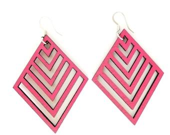 Weightlesswood, wood earrings,diamond shaped, chevron,lightweight, stylish, trendy, pink.