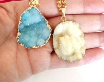 gemstone necklace - statement necklace - stone necklace - raw gemstone - bohemian  jewelry - agate pendant - bohemian necklace - womens gift