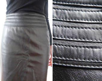 Black leather skirt, black leather pencil skirt, pencil skirt made of black leather, knee length skirt, knee length leather skirt