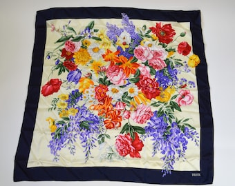 "Large Twill Silk Floral Scarf by D'ESTE Made in Italy with White Background Rainbow Colors of Flowers Blue Border Hand Rolled 34"" Square"