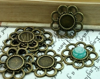 6 pcs Antique Brass Cameo Cabochon Frame, Setting, Connector -FRM-3197AB
