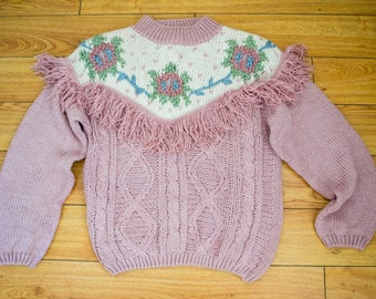 Needles and Yarn,knit sweater,large,Soft ,Pink,Sweater ,Fringed sweater