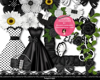 Ladies Fashion, Scrap Kits, Black and White Fashion with matching accessories CU