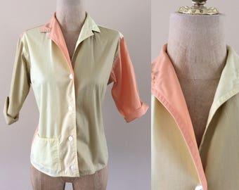 1950's Colorblock Cotton Button Up