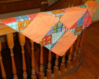 Vintage Patchwork Table Topper, Lap Blanket, Table Cloth, Throw, Unlined, Orange, Blue  (395-11)