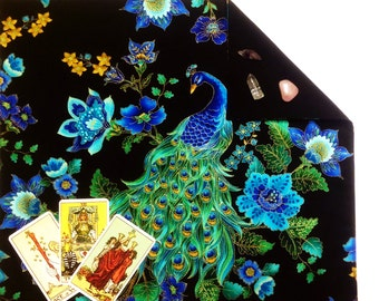 "Peacock Tarot cloth or Altar Cloth lined in cotton velvet or silk 18"" x 20"" Midnight Plumes Feathers Floral Runes Cloth"