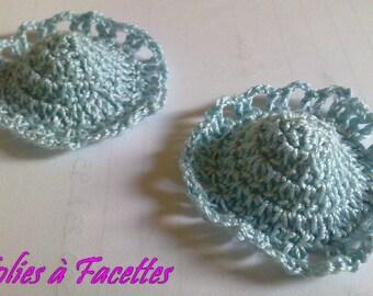 Two hats in blue crochet cotton