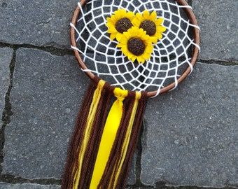 Sunflowers, dream catcher, yellow brown, uk, sunflower gift, dreamcatcher, yellow dream catcher, artificial flowers, boho, thank you gift