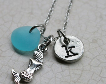 Mermaid necklace with Beach Glass Initial Necklace Sea Glass Mermaid charm Handstamped Initial Jewelry Mermaid Jewelry Beach Glass