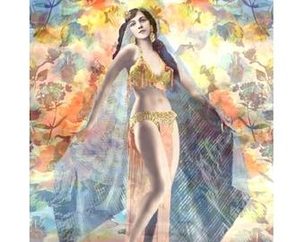 Belly dancer, vintage burlesque, digital print, photomontage, burlesque belly dancer, art deco, 1920's dancer, fine art print, home decor