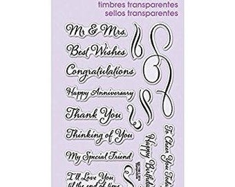 Stampendous LOVING MESSAGES Clear Acrylic Stamp Set Congratulations Thank you My special Friend Happy Birthday - CS074