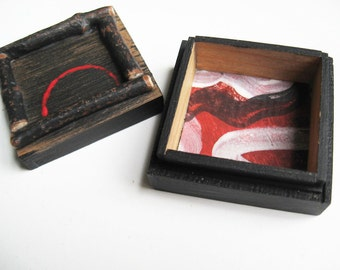 Black Trinket Box ~ Rustic Ring Box ~ Dark Wood Ring Box ~  Mini Zen Gift ~ Artisan Jewelry Box ~ Black and Red Treasure box ~ OOAK