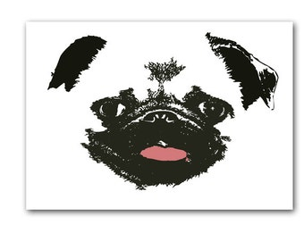 Pug Dog Art  - Fine art print, sketch, black and white, pug face